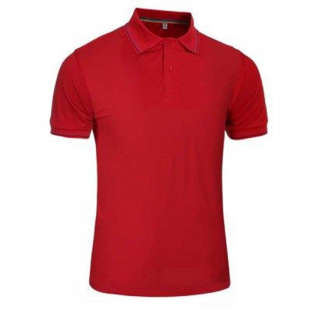 MALE SOLID COLOR TURN-DOWN COLLAR SHORT SLEEVE POLO SHIRT (RED) L