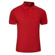image of MALE SOLID COLOR TURN-DOWN COLLAR SHORT SLEEVE POLO SHIRT (RED) L