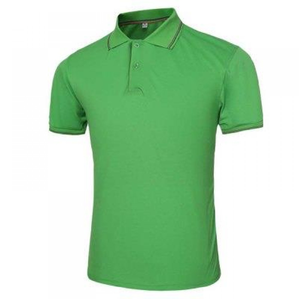 MALE SOLID COLOR TURN-DOWN COLLAR SHORT SLEEVE POLO SHIRT (GREEN) L