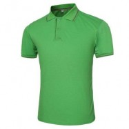image of MALE SOLID COLOR TURN-DOWN COLLAR SHORT SLEEVE POLO SHIRT (GREEN) L