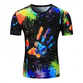 image of CREW NECK COLORFUL SPLATTER PAINT HANDPRINT PRINT T-SHIRT (COLORMIX) 2XL