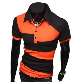 image of CASUAL COLOR BLOCK TURN DOWN COLLAR MALE SHORT SLEEVE SHIRT (ORANGE M/L/XL/XXL) L