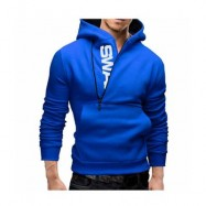 image of CASUAL COLOR BLOCK ZIPPER DESIGN MALE PULLOVER HOODIE (PEACOCK BLUE, SIZE M/L/2XL/3XL) L