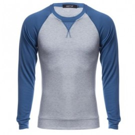 image of CASUAL PATCHWORK ROUND NECK MALE LONG SLEEVE SHIRT (PURPLISH BLUE) M