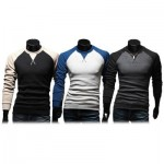CASUAL PATCHWORK ROUND NECK MALE LONG SLEEVE SHIRT (BLACK) M