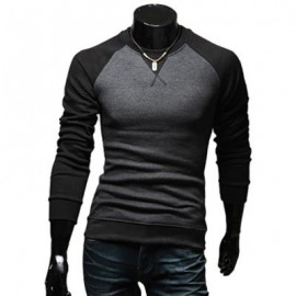 image of CASUAL PATCHWORK ROUND NECK MALE LONG SLEEVE SHIRT (BLACK) M