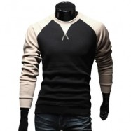 image of CASUAL PATCHWORK ROUND NECK MALE LONG SLEEVE SHIRT (KHAKI) M