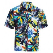 image of TRENDY TURN DOWN COLLAR SHORT SLEEVE FULL PRINT LOOSE-FITTING BEACH SHIRT FOR MEN (WHITE AND GREEN) XL