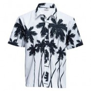 image of TRENDY TURN DOWN COLLAR SHORT SLEEVE FULL PRINT LOOSE-FITTING BEACH SHIRT FOR MEN (WHITE) 2XL