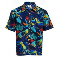 image of TRENDY TURN DOWN COLLAR SHORT SLEEVE FULL PRINT LOOSE-FITTING BEACH SHIRT FOR MEN (BLUE AND RED) XL