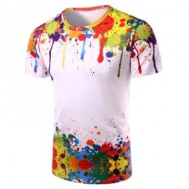 image of 3D COLORFUL SPLATTER PAINT SHORT SLEEVE T-SHIRT (COLORMIX) L