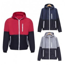 image of CASUAL THIN COLOR BLOCK ZIPPER DESIGN LONG SLEEVE HOODIES FOR MALE L