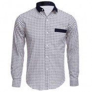 image of CASUAL SLIM FIT LATTICE TURN DOWN COLLAR LONG SLEEVE FOR MALE M
