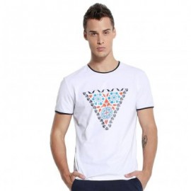 image of CASUAL PATTERN PRINTED ROUND NECK MEN SHORT SLEEVE SHIRT M