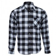 image of SLIM FIT TURN-DOWN COLLAR LONG SLEEVE MALE CASUAL PLAID SHIRT XL