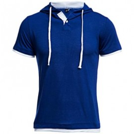 image of CASUAL HOODED SHORT SLEEVE COLOR BLOCK T-SHIRT FOR MEN XL