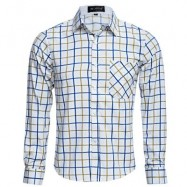 image of CASUAL TURN DOWN COLLAR LONG SLEEVE PLAID PRINT BUTTON AND POCKET DESIGN SHIRT FOR MEN M