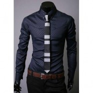 image of LAPEL HIDDEN PLAID LONG SLEEVE DRESS SHIRT (NAVY) L