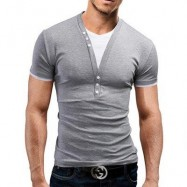 image of CASUAL ROUND COLOR SHORT SLEEVE COLOR BLOCK T-SHIRT FOR MEN (LIGHT GRAY) M