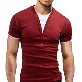 image of CASUAL ROUND COLOR SHORT SLEEVE COLOR BLOCK T-SHIRT FOR MEN (WINE RED) M