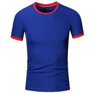 image of SIMPLE ROUND COLLAR SHORT SLEEVE COLOR BLOCK T-SHIRT FOR MEN (SAPPHIRE BLUE) XL