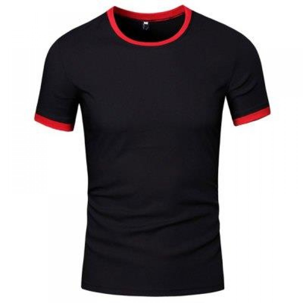 SIMPLE ROUND COLLAR SHORT SLEEVE COLOR BLOCK T-SHIRT FOR MEN (BLACK) XL