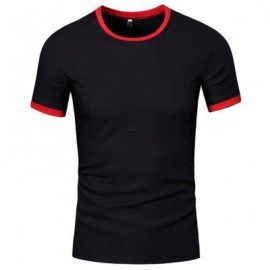 image of SIMPLE ROUND COLLAR SHORT SLEEVE COLOR BLOCK T-SHIRT FOR MEN (BLACK) XL