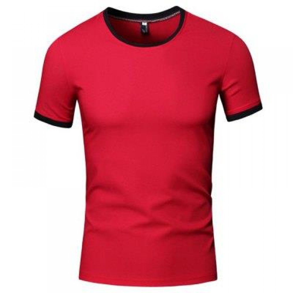 SIMPLE ROUND COLLAR SHORT SLEEVE COLOR BLOCK T-SHIRT FOR MEN (RED) XL
