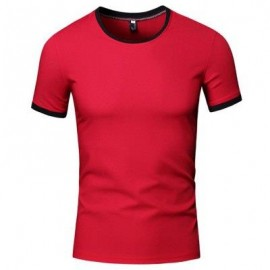 image of SIMPLE ROUND COLLAR SHORT SLEEVE COLOR BLOCK T-SHIRT FOR MEN (RED) XL