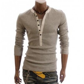 image of KOREAN STYLE MEN'S COTTON T-SHIRT WITH KOREAN STYLE FAUX TWINSET SOLID COLOR LONG SLEEVES DESIGN (LIGHT GRAY) L