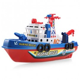 image of MUSIC LIGHT ELECTRIC MARINE RESCUE FIRE FIGHTING BOAT TOY (COLORMIX) -