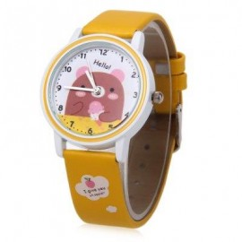image of KEZZI K667 CHILDREN QUARTZ WATCH CUTE ANIMAL PATTERN DIAL WRISTWATCH (YELLOW) 0