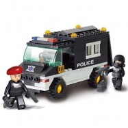 image of SLUBAN BUILDING BLOCKS EDUCATIONAL KIDS TOY RIOT POLICE PATROL CAR 127PCS (MIXCOLOR) 0