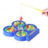 image of KIDS COLORFUL PLASTIC ELECTRONIC FISHING MUSICAL ROTATING TOY WITH 32 FISH 4 RODS PARENT-CHILD FUNNY GAME (COLORMIX) -
