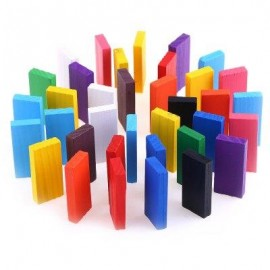 image of 100PCS KIDS BRIGHT COLORED WOODEN TUMBLING DOMINO EDUCATIONAL TOY (COLORMIX) -