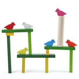 image of KIDS COLORFUL WOODEN BIRD BALANCE BEAM PATIENCE TRAINING TOY (COLORMIX) -