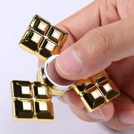 image of TRI GRID ALLOY FIDGET SPINNER FINGER PLAYTHING (GOLDEN) 6.5*6.5CM
