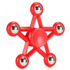 image of FIVE-POINTED STAR PLASTIC HAND SPINNER FUNNY STRESS RELIEVER RELAXATION GIFT (RED) -