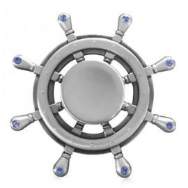 image of FIDDLE TOY RHINESTONE RUDDER FIDGET METAL SPINNER (SILVER) -