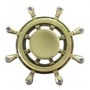 image of FIDDLE TOY RHINESTONE RUDDER FIDGET METAL SPINNER (GOLDEN) -
