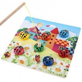 image of KIDS COLORFUL MAGNETIC WOODEN PUZZLES LADYBUG BUG BEETLES CATCHING FISHING GAME EDUCATIONAL LEARNING TOY (COLORMIX) -