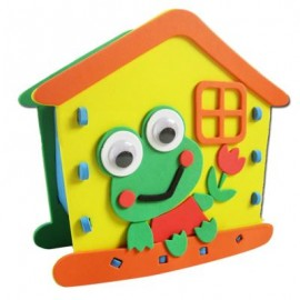 image of KID STEREOSCOPIC STICKER PEN CONTAINER HANDMADE STICKUP EDUCATIONAL TOY (YELLOW, FROG) Frog