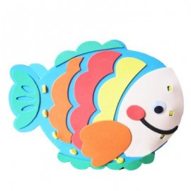 image of KID STEREOSCOPIC STICKER PEN CONTAINER HANDMADE STICKUP EDUCATIONAL TOY (BLUE, FISH) Fish