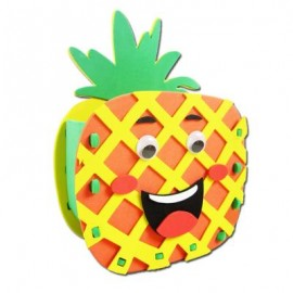image of KID STEREOSCOPIC STICKER PEN CONTAINER HANDMADE STICKUP EDUCATIONAL TOY (YELLOW, PINEAPPLE) Pineapple