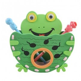 image of KID STEREOSCOPIC STICKER PEN CONTAINER HANDMADE STICKUP EDUCATIONAL TOY (GREEN, FROG) Frog