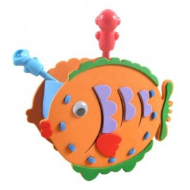 image of KID STEREOSCOPIC STICKER PEN CONTAINER HANDMADE STICKUP EDUCATIONAL TOY (ORANGE, FISH) Fish