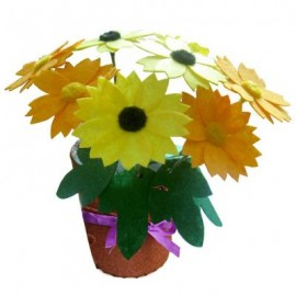 image of CHILDREN DIY NON-WOVEN HANDMADE ARTIFICIAL FLOWER POT EDUCATIONAL TOY (YELLOW) One Size