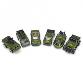 image of 6PCS MINI VEHICLE DIE-CAST MODEL CAR 1:64 SCALE CHILDREN TOYS (ARMY GREEN) 0