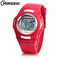 image of MINGRUI 8522 KIDS DIGITAL MOVT WATCH LED LIGHT DATE DAY CHRONOGRAPH DISPLAY 3ATM WRISTWATCH (RED) 0