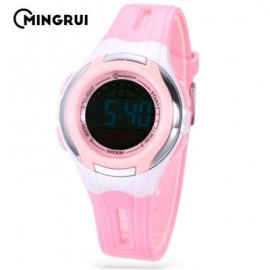 image of MINGRUI MR - 8545071 KIDS DIGITAL MOVT WATCH LED LIGHT DATE DAY CHRONOGRAPH 3ATM WRISTWATCH (PINK) 0